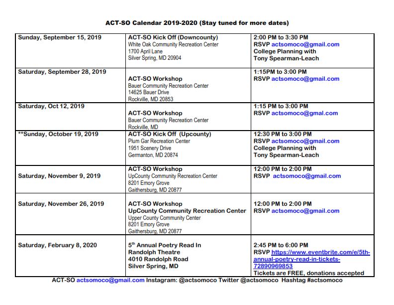 ACT-SO Calendar 2019